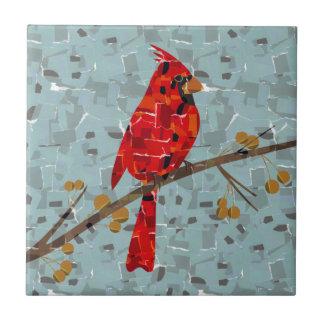 Christmas Cardinal bird collage Tile