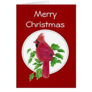 Christmas Cardinal Bird Nature Wildlife,Watercolor Card