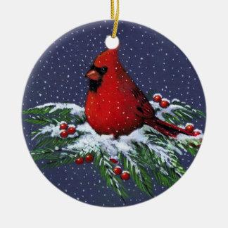 CHRISTMAS CARDINAL: BIRD: SNOW: ART CHRISTMAS ORNAMENT