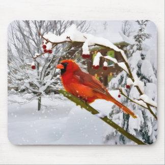 Christmas Cardinal Bird Snow Mousepad
