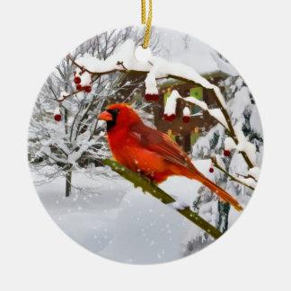 Christmas,  Cardinal Bird, Snow, Ornament