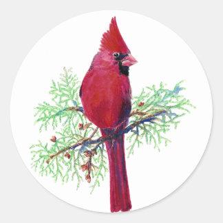 Christmas Cardinal Classic Round Sticker