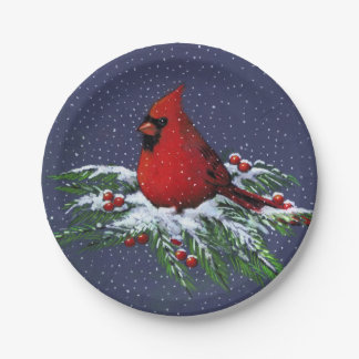 Christmas Cardinal in Snow: Holiday, Bird: Art Paper Plate