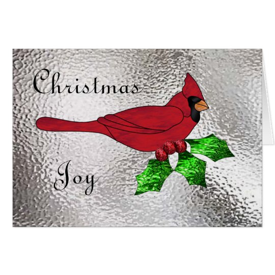 Christmas Cardinal in Stained Glass Card