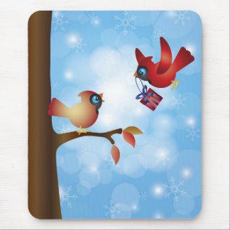 Christmas Cardinal Pair Mousepad