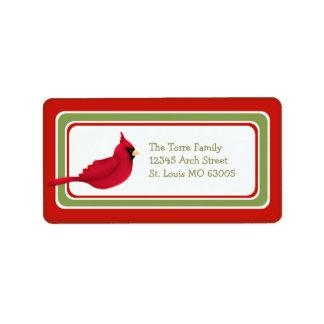 Christmas Cardinal Whimsical Custom Label