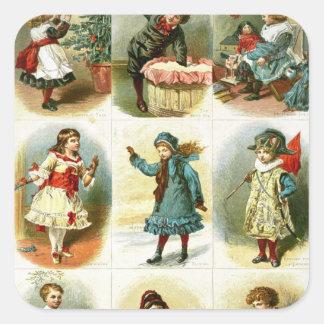 Christmas cards square sticker