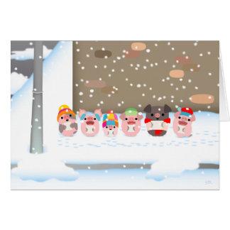 Christmas Carol Cartoon Pigs greeting card