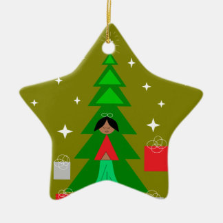 Christmas Carol Ceramic Star Decoration