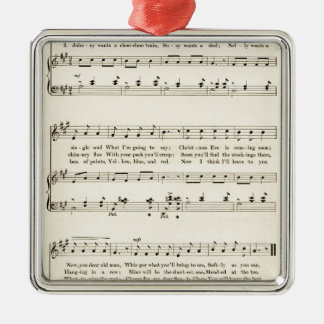"""Christmas Carol: """"Jolly Old Santa Claus"""" Silver-Colored Square Decoration"""