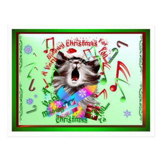 Christmas Carol Kitty Postcard