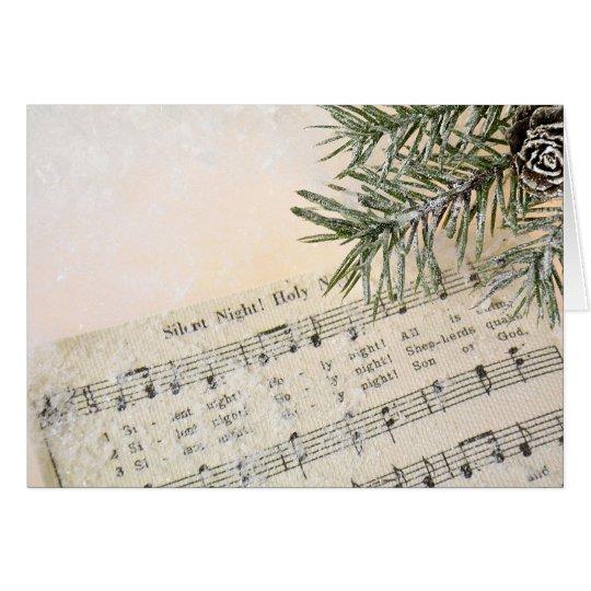 Christmas Carol music in snow Card