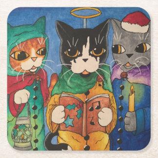Christmas Carol Singers Square Paper Coaster