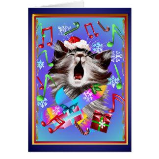 Christmas Carol Singing Kitty Greeting Card