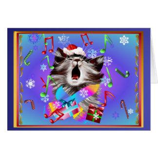 Christmas Carol Singing Kitty Card