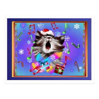 Christmas Carol Singing Kitty Postcard