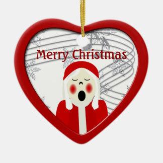 Christmas Caroler Girl Heart Ornament
