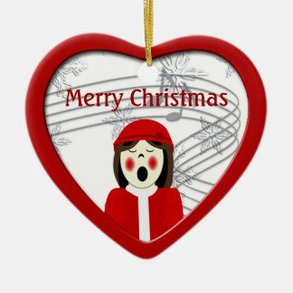Christmas Caroler Woman Heart Ornament