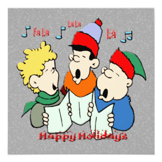 "Christmas Carolers Christmas Invitation 5.25"" Square Invitation Card"