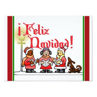 Christmas Carolers - Feliz Navidad 17 Cm X 22 Cm Invitation Card
