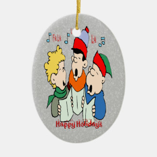 Christmas Carolers Oval Ornament