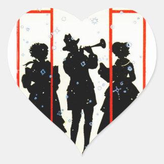 Christmas Carolers Silhouette 1920 Heart Sticker