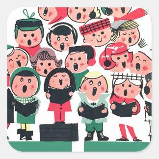 Christmas Carolers Square Sticker