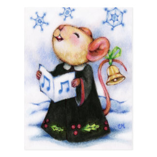 Christmas Caroling Mouse Cute Holiday Postcard
