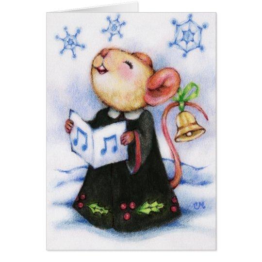 Christmas Caroling Mouse Singing Holiday Cute Card