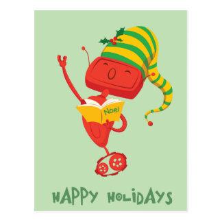 Christmas Caroling Robot Postcard