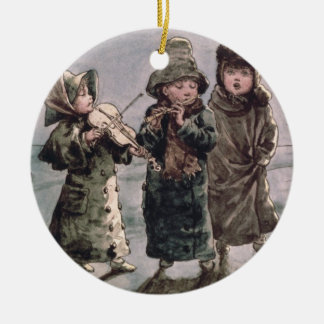 Christmas Caroling (w/c on paper) Christmas Ornament