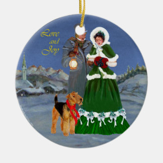 Christmas Carols Round Ceramic Decoration