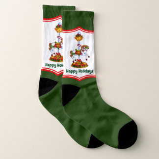 Christmas carousel Horse add text socks 1