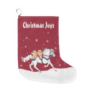 Christmas Carousel Horse & Teddy Bears Stocking Large Christmas Stocking