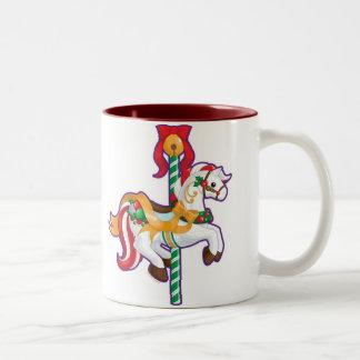 Christmas Carousel Two-Tone Coffee Mug