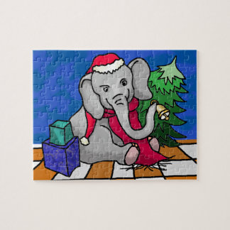 Christmas Cartoon Baby Elephant With Santa Hat Jigsaw Puzzle