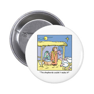 Christmas Cartoon Jesus Stable Scene 6 Cm Round Badge