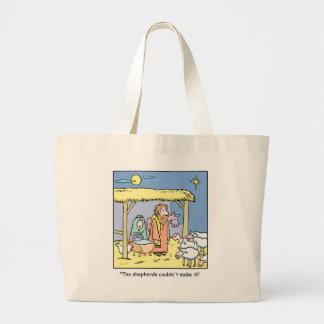 Christmas Cartoon Jesus Stable Scene Jumbo Tote Bag
