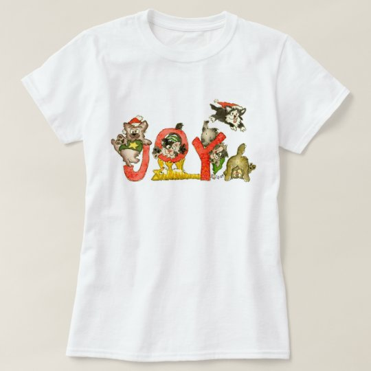 Christmas Cartoon Kitten Cats JOY Shirt