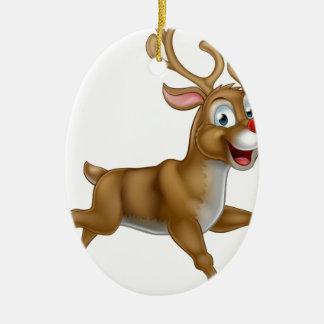 Christmas Cartoon Reindeer Ceramic Oval Decoration