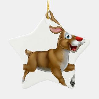 Christmas Cartoon Reindeer Ceramic Star Decoration