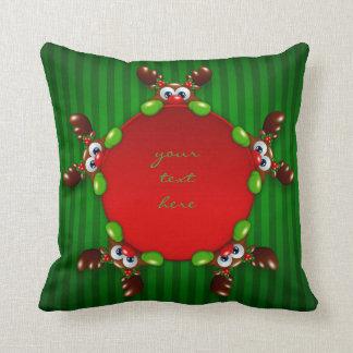 christmas cartoon reindeer holding blank throw cushion