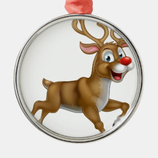 Christmas Cartoon Reindeer Silver-Colored Round Decoration