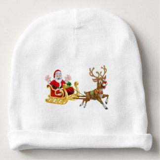 Christmas Cartoon Santa and Reindeer Sleigh Baby Beanie