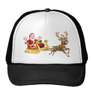 Christmas Cartoon Santa and Reindeer Sleigh Cap