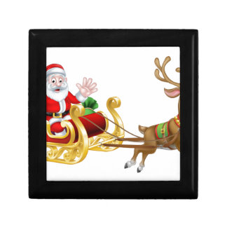 Christmas Cartoon Santa and Reindeer Sleigh Gift Box