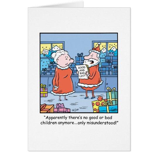Christmas Cartoon Santas Good and Bad List Card
