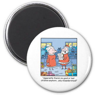 Christmas Cartoon Santas Good and Bad List Magnet