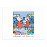 Christmas Cartoon Santas Good and Bad List Postcards