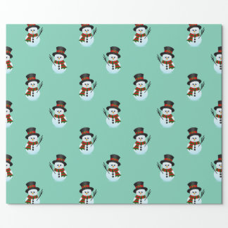 christmas cartoon snowmen pattern wrapping paper